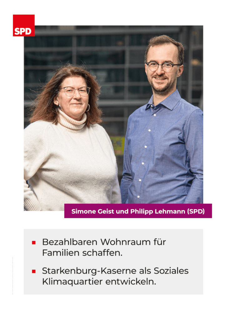 Plakat SPD Waldkolonie/Weststadt: Bezahlbaren Wohnraum & Starkenburgkaserne sozial-ökologisch bebauen!