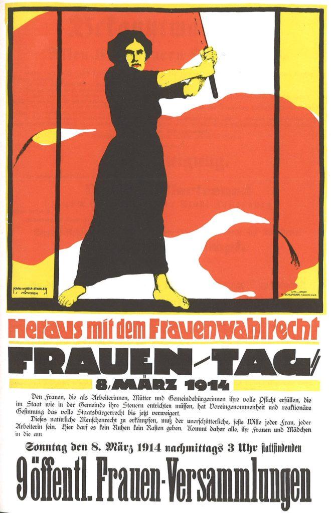 Plakat zum Frauentag 1914 - Heraus mit dem Frauenwahlrecht!