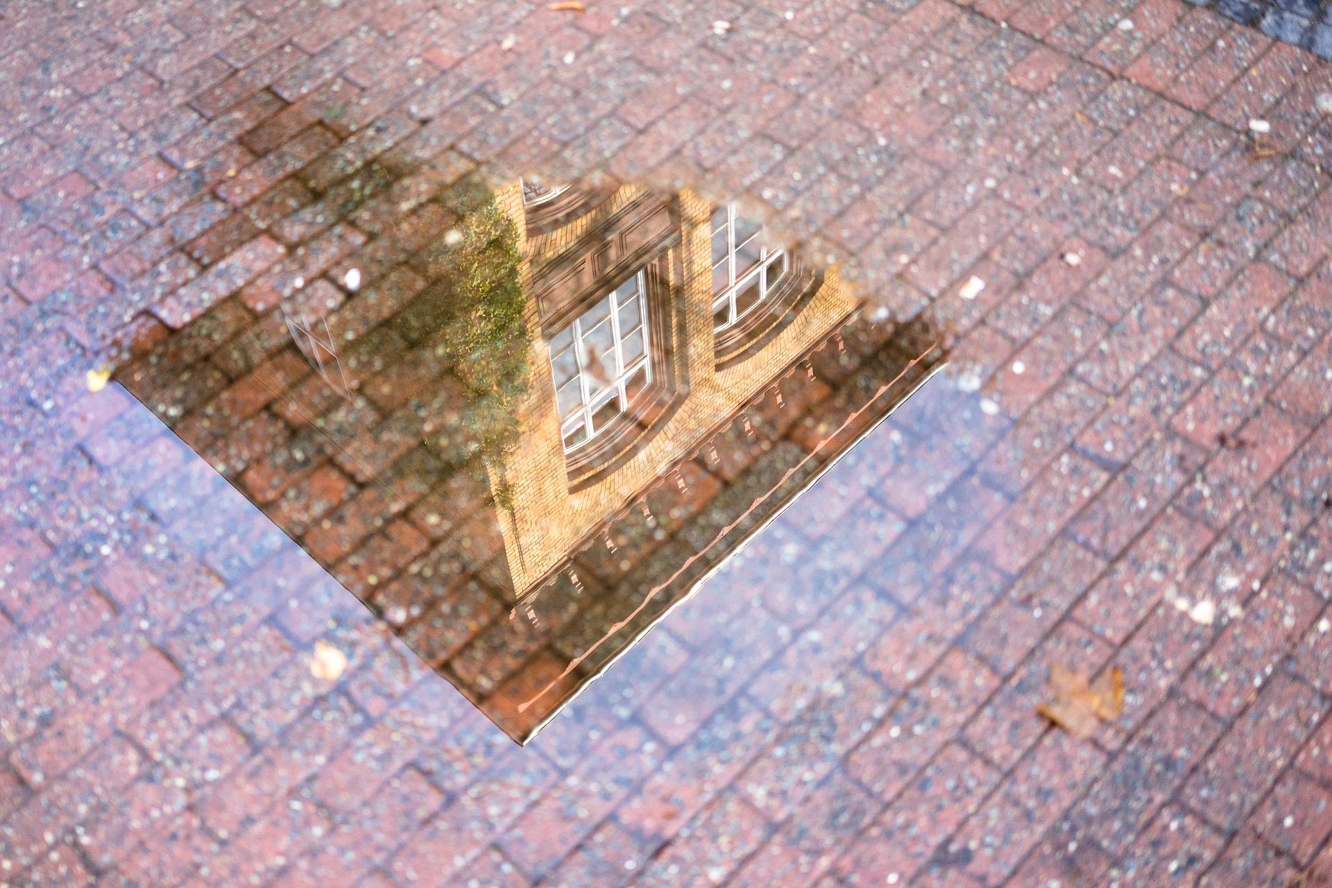 Wohnhaus spiegelt sich in einer Pfütze